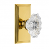 Grandeur Biarritz Crystal Door Knob Set with Carre Short Plate Lifetime Brass