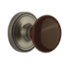 Nostalgic Warehouse Brown Porcelain Knob with Classic Rose Antique Pewter