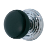 Emtek Ebony Door Knob Set with Regular Rosette Polished Chrome (US26)