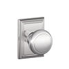 Schlage Andover Knob with Addison Decorative Rose in Bright Chrome