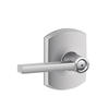 Schlage F40LAT626GRW Lattitude Privacy Door Lever Set with Greenwich Rose