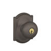 Schlage Plymouth Knob with Camelot Decorative Rose Oil Rubbed Bronze