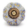 PotteryVille Yellow leaf with White Base Cabinet knob