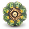PotteryVille Yellow Flower and Lime Green Leaf with Green Base Cabinet Knob