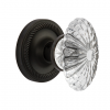 Nostalgic Warehouse Oval Fluted Crystal Knob with Rope Rose Oil Rubbed Bronze
