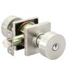 Emtek Round Keyed Entry Door Knob with Square Rose Satin Nickel (US15)
