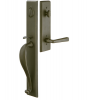 Emtek 451613 Rectangular Full Length Handleset with Melrose Leve Medium Bronze