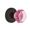 Nostalgic Warehouse Waldorf Pink Crystal Knob Set Rope Rose Timeless Bronze