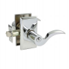 Emtek Cortina Keyed Entry Door Lever with Rectangular Rose Polished Chrome (26)