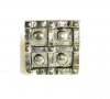 Emenee OR376 Four Button Square Cabinet Knob shown in Antique Bright Gold (ABG)