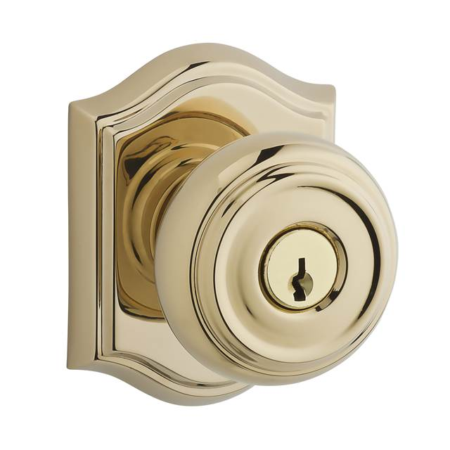 Baldwin Reserve Keyed Traditional Knob with Arch Rose in Polished Brass (003)