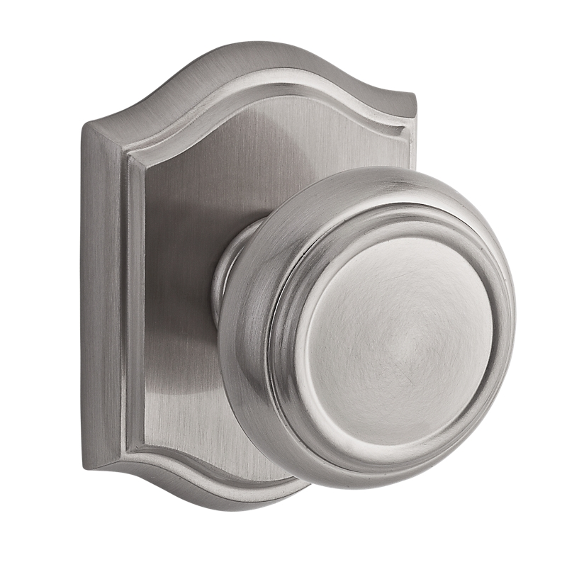 Baldwin Reserve Traditional Knob shown with Arch Rose in Satin Nickel (150)