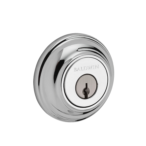 Baldwin Reserve Traditional Round Deadbolt (TRD) shown in Polished Chrome (260)